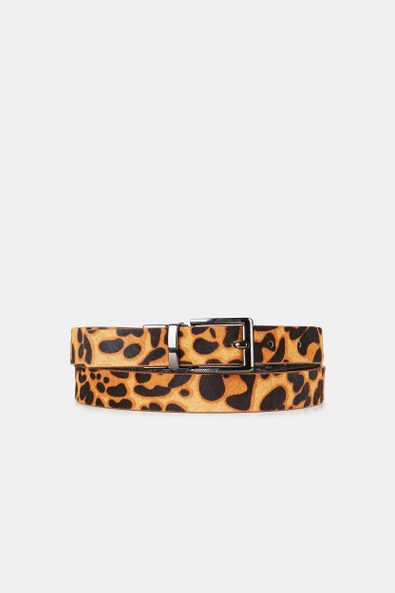 Reversible animal print belt