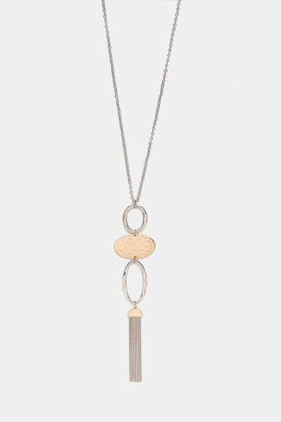 Long necklace with 2 tone charm