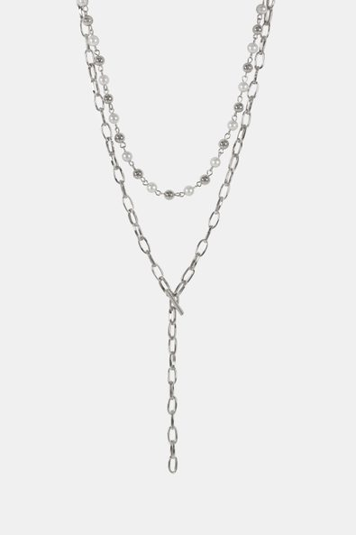 Pearls and chain 2 in 1 necklace
