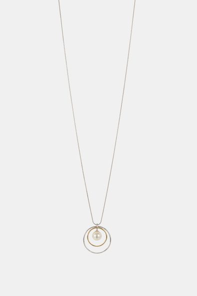 Pearl and rings necklace