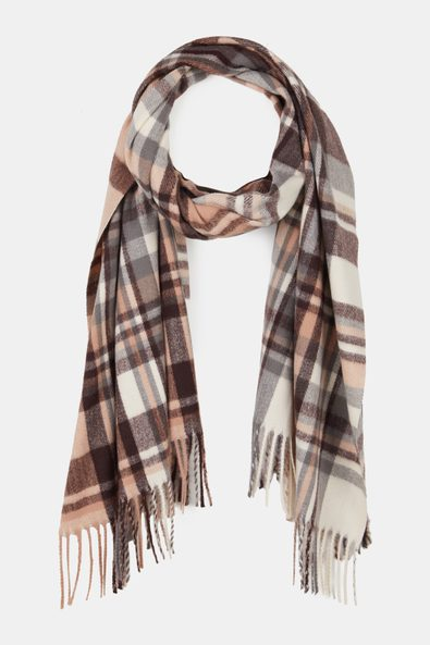 Check scarf with fringe