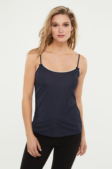 Polka dot camisole with contrast detail