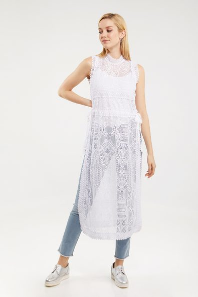 Long lace tunic with side slit