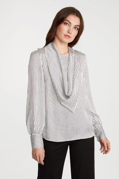 Puffy sleeve striped blouse with scarf