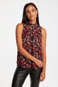 Heart print top with pleat at mock neck