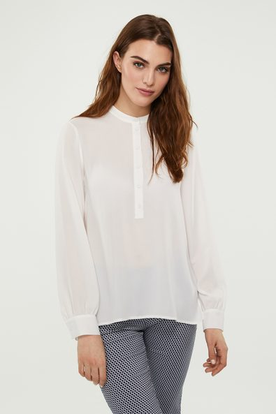 Mao collar blouse with puffy sleeves