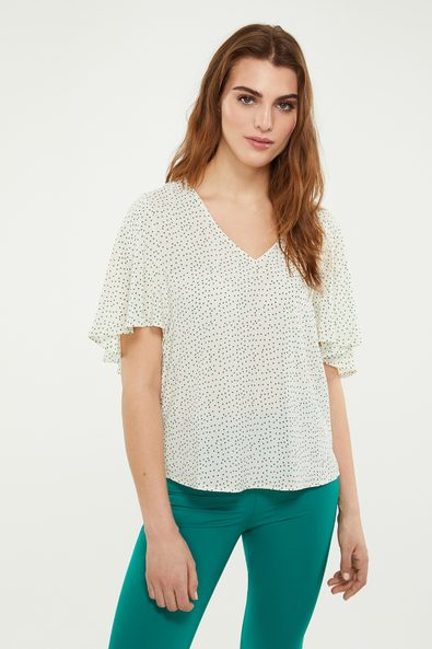 Ruffled sleeve polka dot top