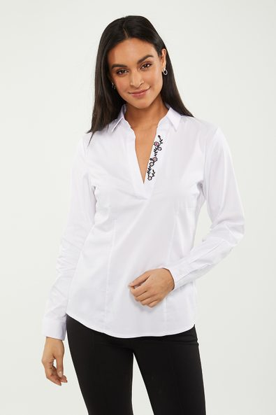 Poplin & jersey shirt with embroidery