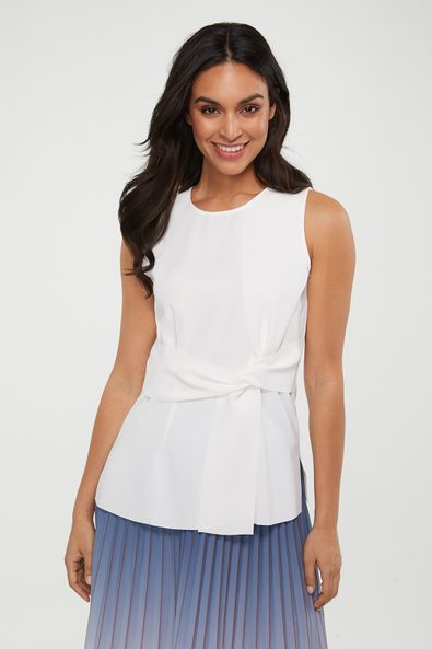 Sleeveless top with front knot