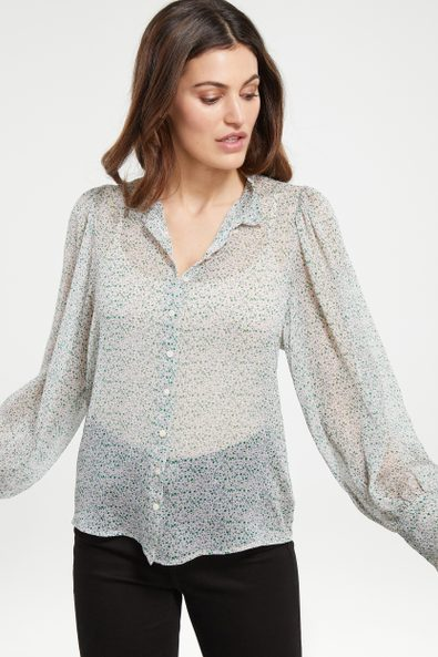 Puffy sleeve printed blouse