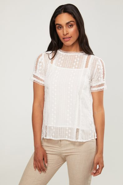 Short sleeve eyelet & lace top with under cami
