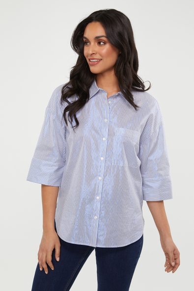 Striped oversized shirt with metallic effect