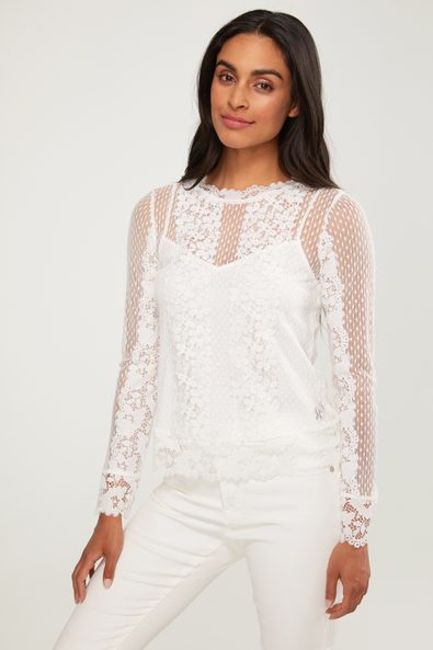 ong sleeve lace top with under cami