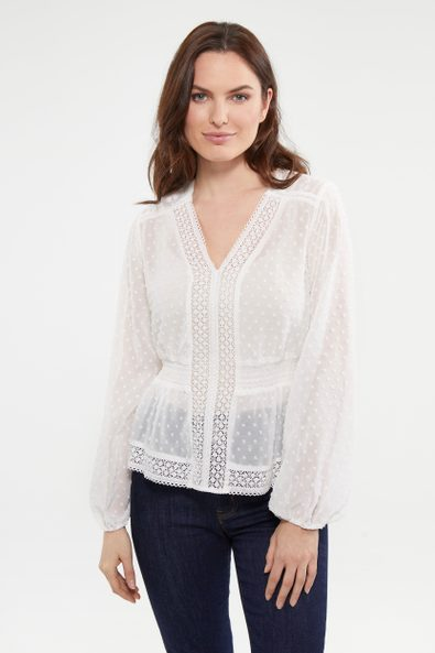 Lace top with puffy sleeve