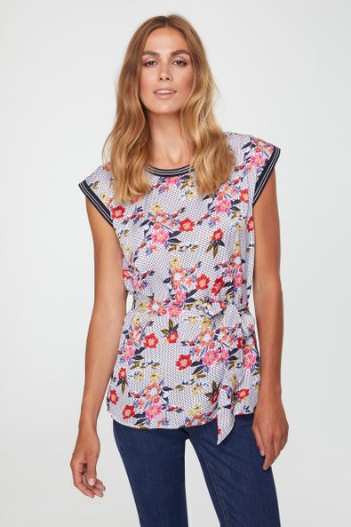 Polka dot & flower print top with sash