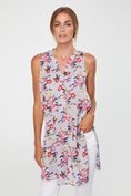 Sleeveless polka dot & flower print tunic