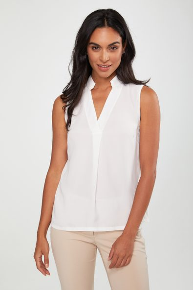 Sleeveless top with jersey back