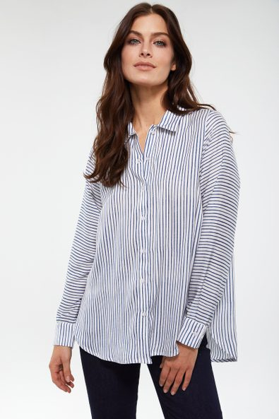 Striped fluid loose shirt