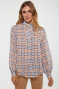 Checked fluid blouse with knot