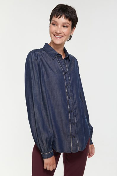 Tencel blouse with puffy sleeves