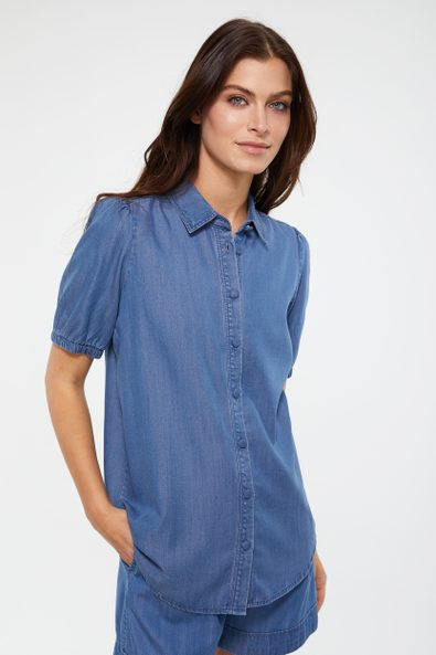 Tencel blouse with short puffy sleeve