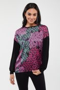Mixed fabrics floral printed top