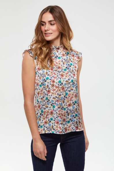 Floral printed sleeveless blouse
