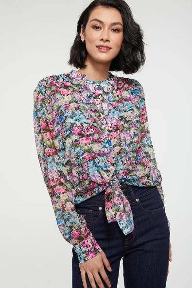Tied front printed blouse with ruching