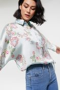 Printed dolman shirt with drawstring