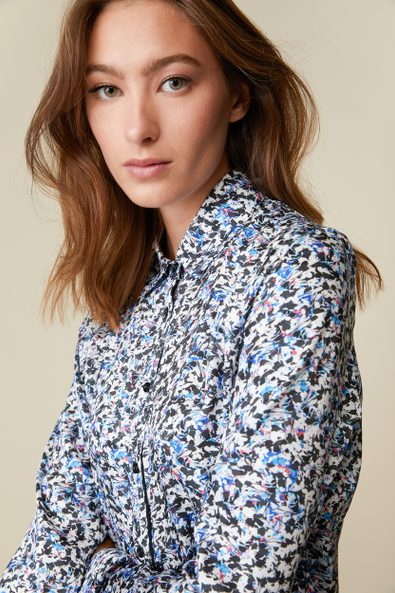 Printed shirt with contrast ribbon