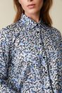 Printed shirt with contrast ribbon - Multi White