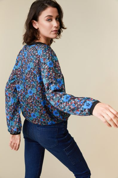 Floral printed top with contrast detail