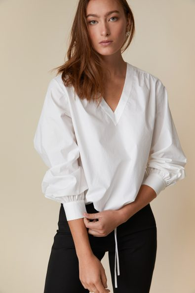 V-neck blouse in organic cotton
