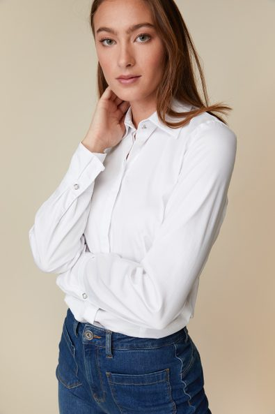 Jersey back shirt with frilled cuffs