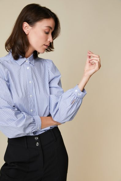 Striped blouse with puffy sleeves