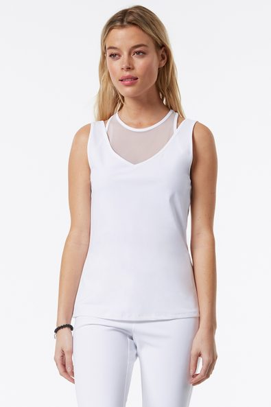 2 in 1 athletic top with mesh