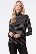Striped mock neck t-shirt with buttons
