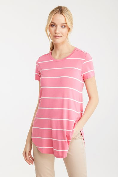 Long striped t-shirt with slit