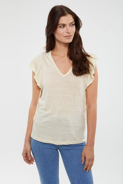 Striped linen t-shirt with flared sleeves