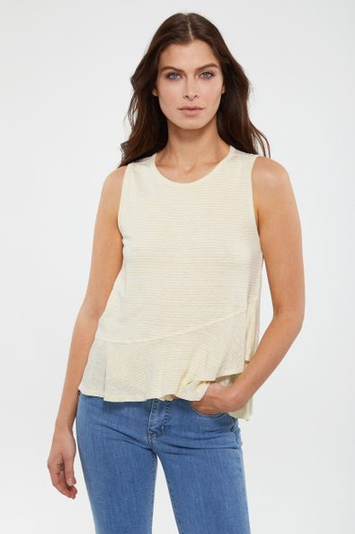 Striped sleeveless top with frill