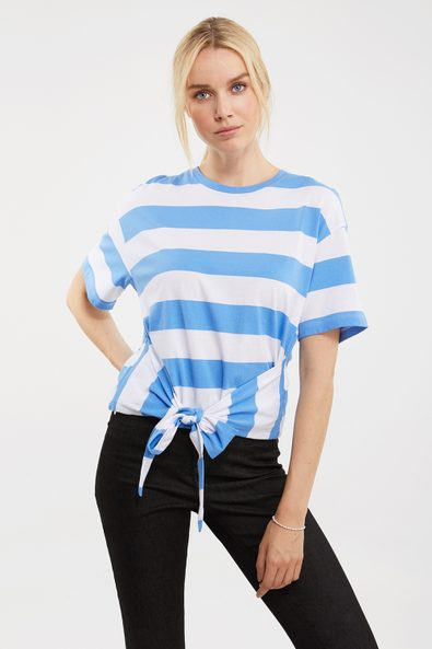 Striped tied front t-shirt