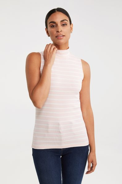 Striped mock neck sleeveless t-shirt