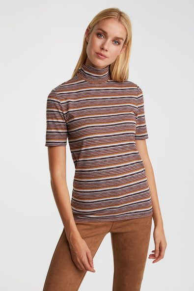Metallic striped mock neck