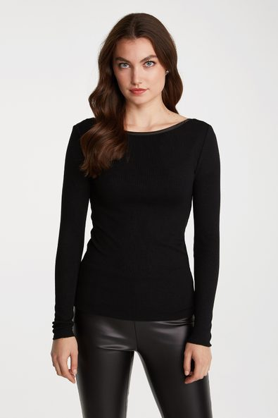 Ribbed top with back U neck