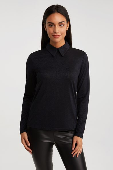 Metallic effect top with collar