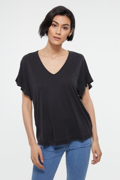 V neck loose top with frill