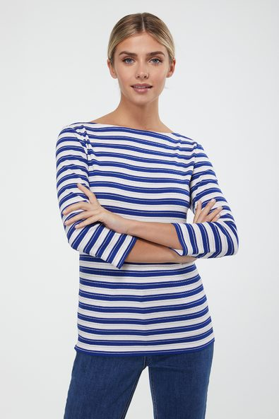 Boat neck striped ribbed top