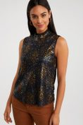 Sequin mock neck top with mixed fabric