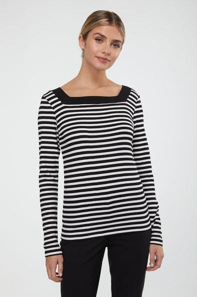 Fancy striped rib square neck top
