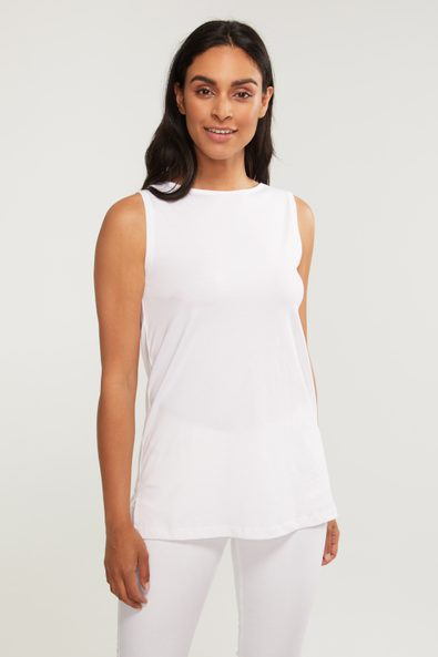 Scoop neck pima cotton sleeveless top